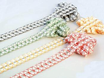 Cotton bobbin lace 75169, width 20 mm, white/grass green - 2
