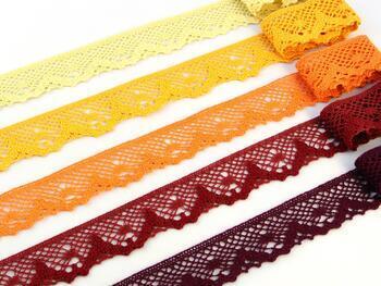 Cotton bobbin lace 75261, width 40 mm, cranberry - 2
