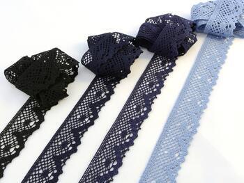 Paličkovaná krajka 75261 bavlněná, šířka40 mm, tm.modrá - 2