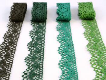 Paličkovaná krajka 75416 bavlněná, šířka27 mm, trávová zelená - 2