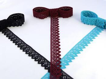 Cotton bobbin lace 75222, width 46 mm, black blue - 2
