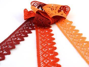 Paličkovaná krajka 75222 bavlněná, šířka 46 mm, sytě oranžová - 2