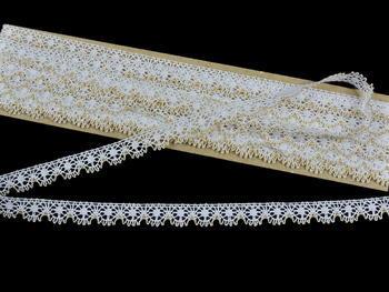 Bobbin lace No.81197 white/gold | 30 m - 2