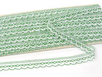Paličkovaná krajka vzor 81215 bílá/trávová zelená | 30 m - 2