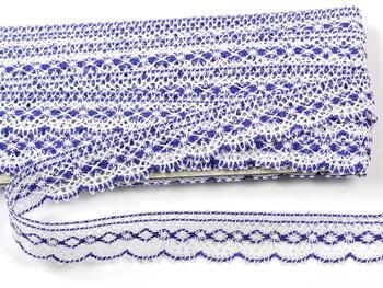 Paličkovaná krajka vzor 81215 bílá/purpurová | 30 m - 2