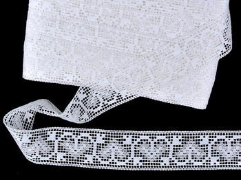 Paličkovná vsadka vzor 81316 bílá | 30 m - 2