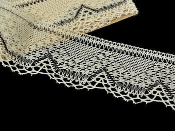Bobbin lace No. 81735 ecru/dark brown | 30 m - 2