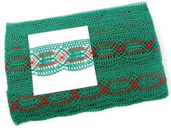 Paličkovaná krajka vzor 81919 tmavě zelená/světle červená | 30 m - 2