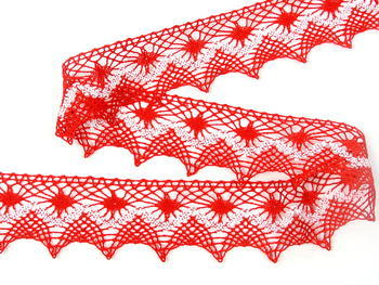 Bobbin lace No. 82157 light red/white | 30 m - 2
