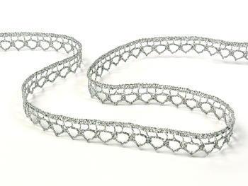Paličkovaná krajka vzor 82195 stříbrná | 30 m - 2
