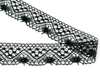 Paličkovaná krajka vzor 82316 černá | 30 m - 2