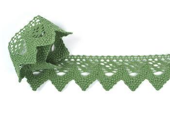 Paličkovaná krajka vzor 82334 zelená olivová | 30 m - 2