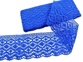Paličkovaná krajka vzor 82336 královská modrá | 30 m - 2