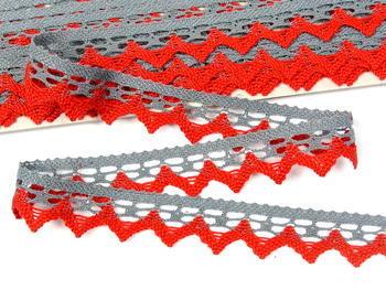 Paličkovaná krajka vzor 82352 šedá/červená | 30 m - 2