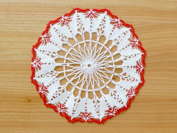 Tablecloth EMILIE white/light red, diameter 17 cm - 2