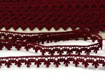 Cotton bobbin lace 73010, width 13 mm, cranberry - 3