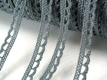 Cotton bobbin lace 73012, width 10 mm, gray - 3