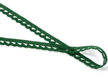 Cotton bobbin lace 73012, width10mm, dark green - 3