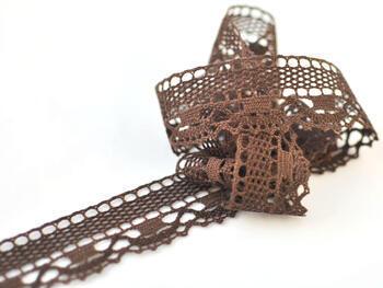 Cotton bobbin lace 75005, width38mm, dark brown - 3