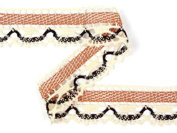 Cotton bobbin lace 75005, width38mm, ecru/terracotta/dark brown - 3