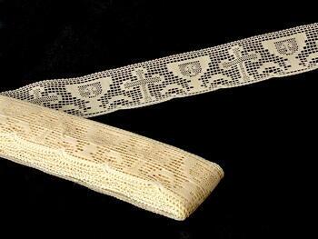 Cotton bobbin lace 75017, width48mm, ecru - 3