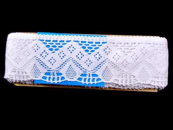 Cotton bobbin lace 75021, width73mm, white - 3