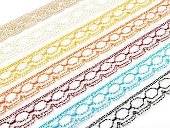 Paličkovaná krajka 75032 bavlněná, šířka45mm, bílá/oranžová - 3