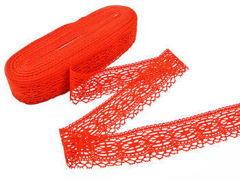 Cotton bobbin lace 75037, width57mm, red - 3