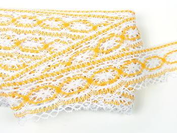 Paličkovaná krajka vzor 75037 bílá/tmavě žlutá |  30 m - 3