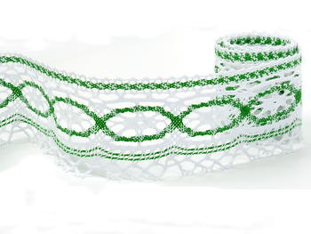 Paličkovaná krajka vzor 75037 bílá/trávová zelená |  30 m - 3