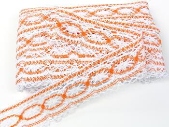 Paličkovaná krajka 75037 bavlněná, šířka57mm, bílá/oranžová - 3