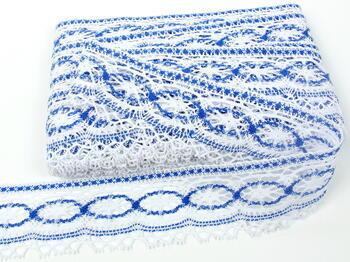 Paličkovaná krajka 75037 bavlněná, šířka57mm, bílá/královská modrá - 3