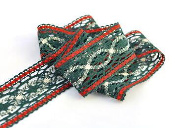 Cotton bobbin lace insert 75038, width52mm, dark green/red/light linen - 3