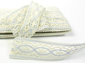 Cotton bobbin lace insert 75038, width52mm, light cream/light blue - 3