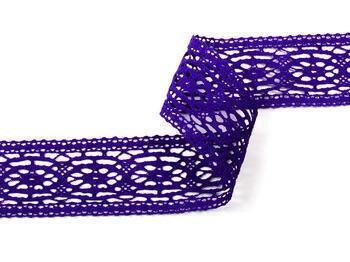 Paličkovaná vsadka 75038 bavlněná, šířka52mm, purpurová/fialová - 3