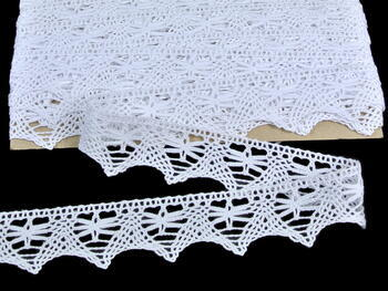 Cotton bobbin lace 75039, width 36 mm, white - 3