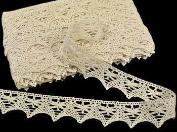 Cotton bobbin lace 75039, width36mm, ecru - 3