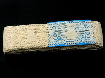 Paličkovaná krajka 75061 bavlněná, šířka63mm, režná - 3
