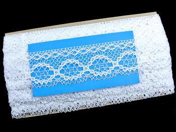 Cotton bobbin lace 75065, width 47 mm, white/Lurex silver - 3