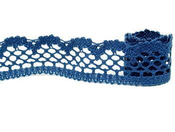 Cotton bobbin lace 75067, width 47 mm, ocean blue - 3