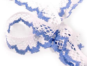 Paličkovaná krajka vzor 75067 bílá/blankytně modrá | 30 m - 3