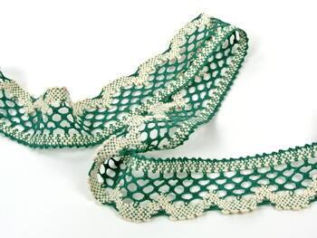Paličkovaná krajka vzor 75067 tmavě zelená/režná | 30 m - 3