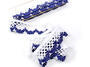 Cotton bobbin lace 75067, width 47 mm, white/dark blue - 3/4