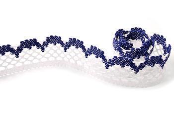 Paličkovaná krajka vzor 75067 bílá/tmavě modrá | 30 m - 3