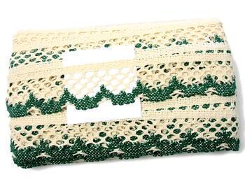 Paličkovaná krajka 75067 bavlněná, šířka47mm, režná/zelená - 3