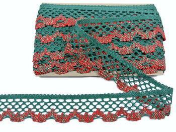 Cotton bobbin lace 75067, width 47 mm, dark green/lig.red/lig.green/Lurex gold - 3