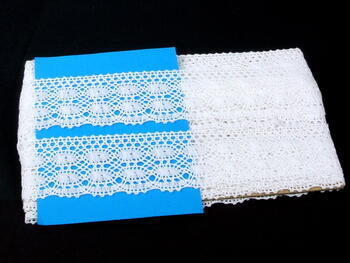 Cotton bobbin lace 75076, width53mm, white - 3