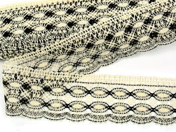 Bobbin lace No. 75076 ecru/dark brown | 30 m - 3