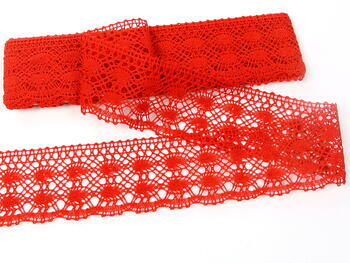 Cotton bobbin lace 75076, width 53 mm, red - 3