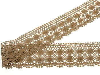 Cotton bobbin lace 75076, width 53 mm, dark beige - 3